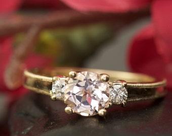 3-Stone Morganite and Diamond Engagement Ring in Rose Gold, Beaded Milgrain on Shank, Classic Design, Amelia