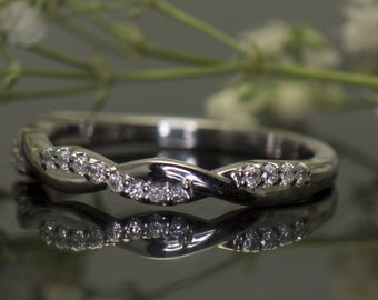 Twisted Vine Diamond Band in 14K White Gold, 1/2 Eternity Band, 0.15ctw, 2.8mm Wide, Pave Set Diamonds, Tight Twist Design, Hailey Rylie 2