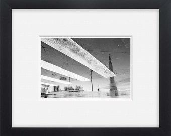Riga, black and white street photography Latvia wall art, horizontal photo print