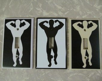 Custom Muscle man light switch plate cover Funny penis bodybuilder body builder
