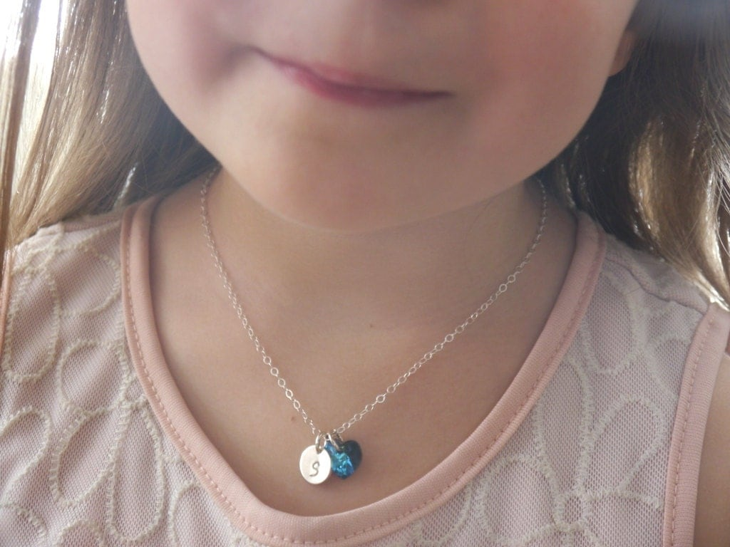 Personalized Little Girl Necklace Birthstone Initial