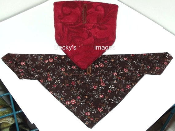 Puppy Bows~2 over the collar dog pet bandana damask red brown small ~US Seller