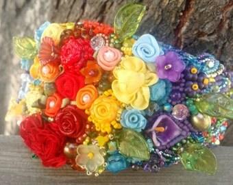 rainbow garden floral bead embroidered cuff