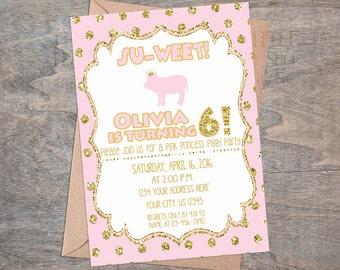Pink Princess Piggy Party Invitation | Princess Pig Pig Birthday Princess Pig Party digital  gold glitter tiara royal