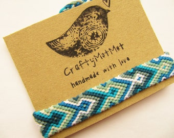 Macrame Bracelet Handmade Bracelet Aqua Friendship Bracelet - Cotton Bracelet - Boho Hippie Colorful Aztec - Wish Bracelet - Friendship Gift