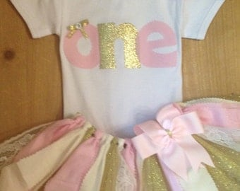 ON SALE Light Pink, Ivory, and Gold Birthday Scrap Fabric Tutu Outfit