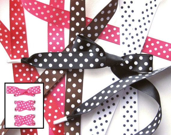 the shoelaces shop polka dot grosgrain ribbon shoelaces white