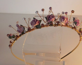 Lilac tiara of roses, pearls and crystals Made in Scotland Bridal/wedding flower tiara