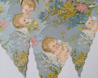 Vintage Wrapping Paper Bunting for a Baby Shower or Baby's Nursery