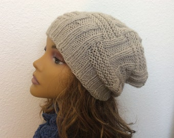 hand knit beanie hat slouchy