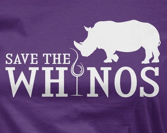 Save the Whinos t-shirt funny lady's wine tee