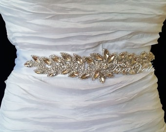 Rhinestone sash,Silver Tone Wedding Sash, Wedding Belt,Sash, Bridal Sash, Beaded Sash, Rhinestone Wedding Sash, Wedding Sash