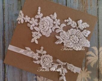 Wedding garter, Bridal garter, Off White, Ivory Garter, wedding garters, bridal garter set/ Floral lace garter, Vintage Garter, Garter set