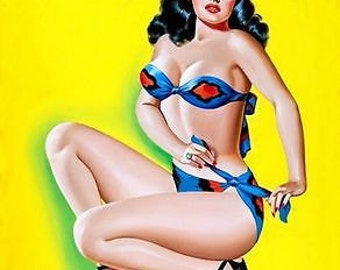 1950's Vintage Pin-Up girl Poster 4 A3 / A2 Print