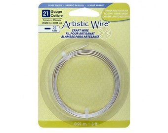 Flat Artistic Wire, Craft Wire, Flat Wire, Silver Wire, 21 Gauge, 3 Feet, 5mm wide x .75 Thick, Tarnish Resistant Silver Plated