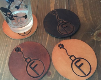 Leather F-Bomb coasters