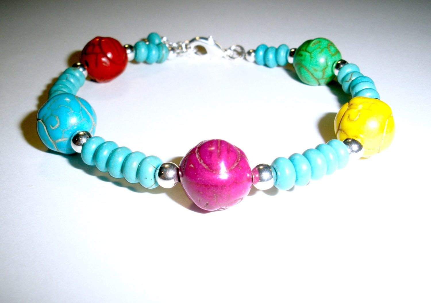 rainbow multi colored beaded bracelet womens jewelry bracelets