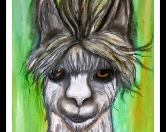 Llama,Whimsical,Character,Green,Mixed media,Original