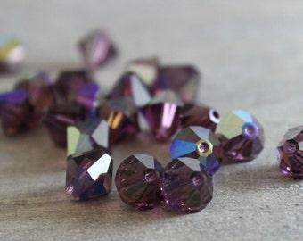 Swarovski 8mm 5301 Bicone Amethyst AB Beads- 72 pcs - Destash - Jewelry Supplies - Swaorvski Crystal -Crystal Beads -Jewelry Making
