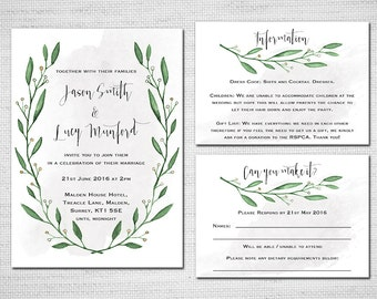 Printable Wedding Invitation - Watercolour Wreath with Calligraphy