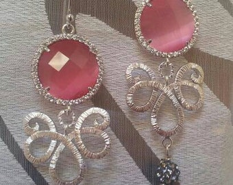 Boulle earrings with crystals