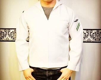1970's US Navy White Pullover Jumper Size 42R, Vintage Rockabilly Men's Navy Sailor Uniform, 70s United States Navy White Jumper Top Uniform