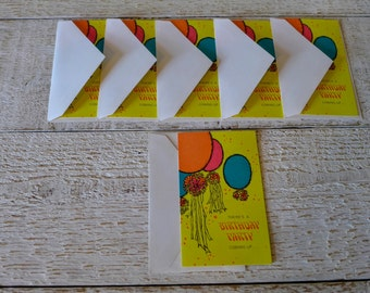 1960's Birthday Party Invites // Gibson Invitations // Set of 6