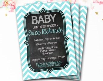 Blue Chevron Baby Shower Invitation, Blue Chevron Shower Invitation, Boy Baby Shower, Chalkboard Invitation, DIY Printable