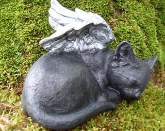 Cat Statue,Angel Cat Statue,Black Cat Statue,Cat Memorial,Sleeping Cat Statue,Pet Memorial,Outdoor Garden Cat,Cat Angel Statue Stone/Cement