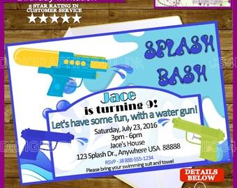 Water Gun, Super Soaker Birthday Invitation Personalized for Kids Printable Digital File