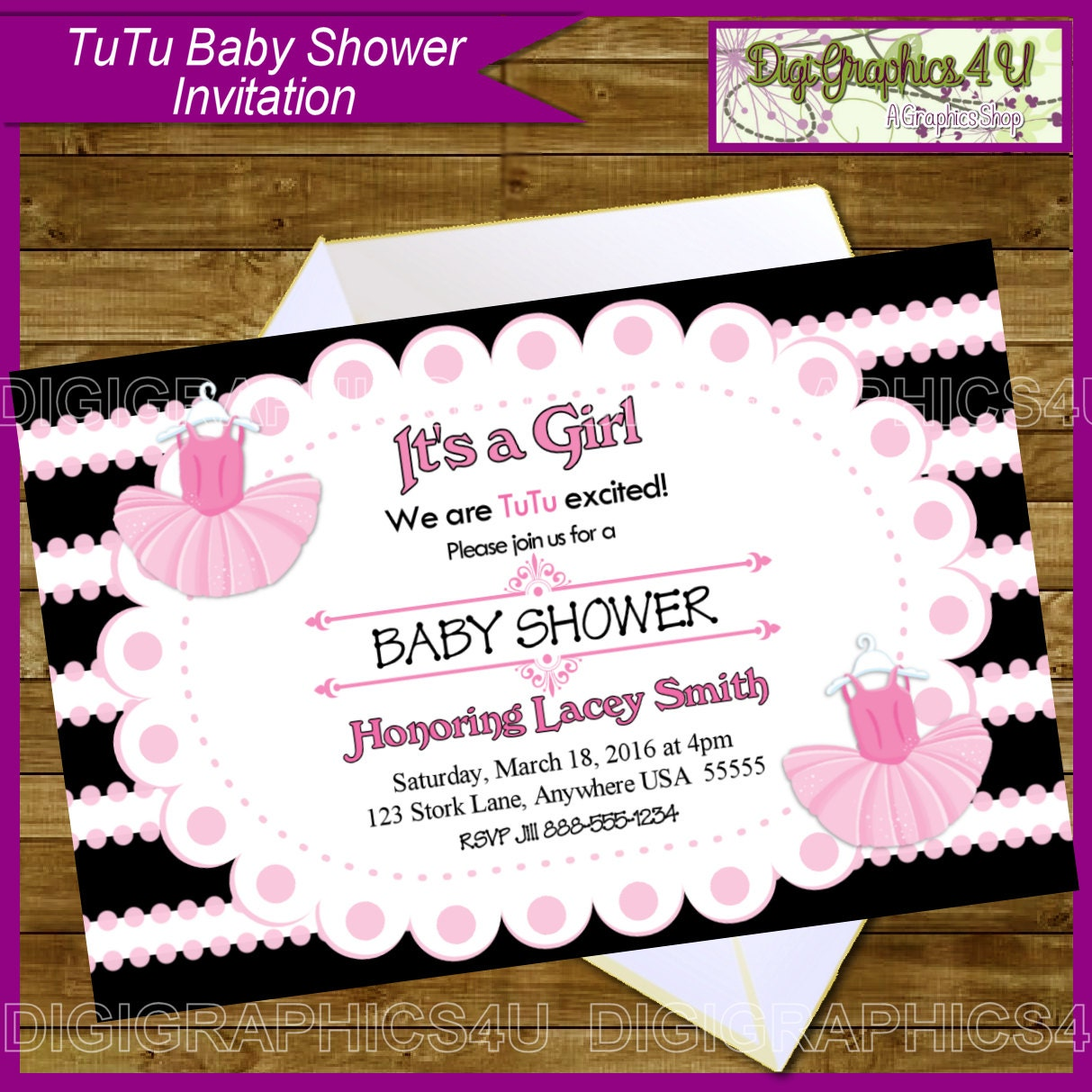 tutu ballerina ballet themed girl baby shower by digigraphics4u