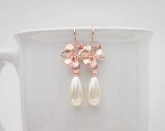 Rose gold orchid and pearl earrings rose gold orchid earrings blush orchid and pearl earrings long dangle earrings rose gold flower earrings