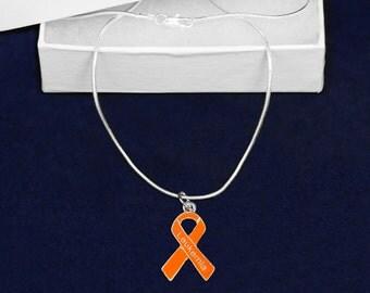 Leukemia Orange Ribbon Necklace (1 Necklace - Retail) (RE-N-29-5LK)