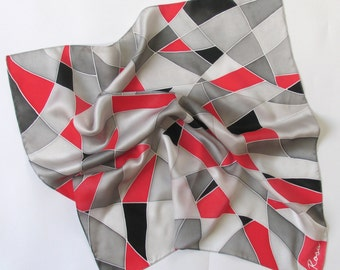 Silk scarf square Shades of colors, natural silk, gift for women , grey and red, hand painted silk scarf square, gift ideas, gift for her