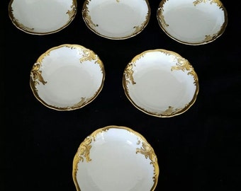 Vintage Wawel Fruit Bowls Recznie Malowane Made In Poland Gold Gilt Set of 6