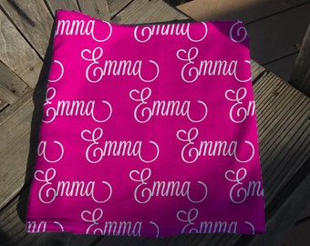Baby Blanket With Name - Personalized Receiving Blanket for Girls - Custom Baby Shower Gift - Newborn Swaddling Blanket - Baby Crib Blanket