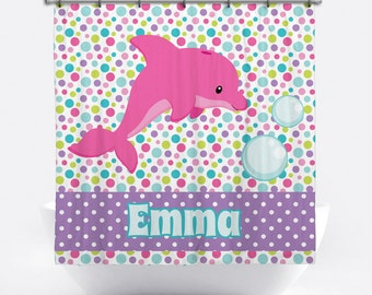 Dolphin Personalized Shower Curtain for Girls - Dolphin Name Shower Curtain - Custom Dolphin Bath Decor - Pink Dolphin Bath Curtain for Kids