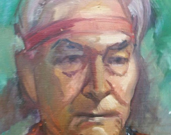 Old Vintage Mid Century Portrait Oil Painting Native American Indian Man Retro