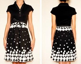 Vintage Japanese 70s Black & White Polka Dot Day Dress Sz S Aus 8 10 US 4 6