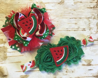 Watermelon Fluffy Bow