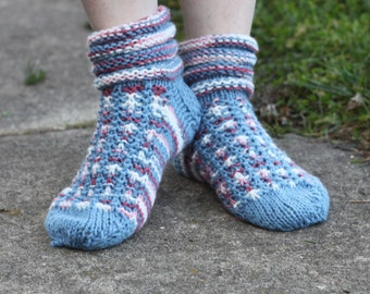 Hand Knitted Slipper Socks in Blue, White and Pink