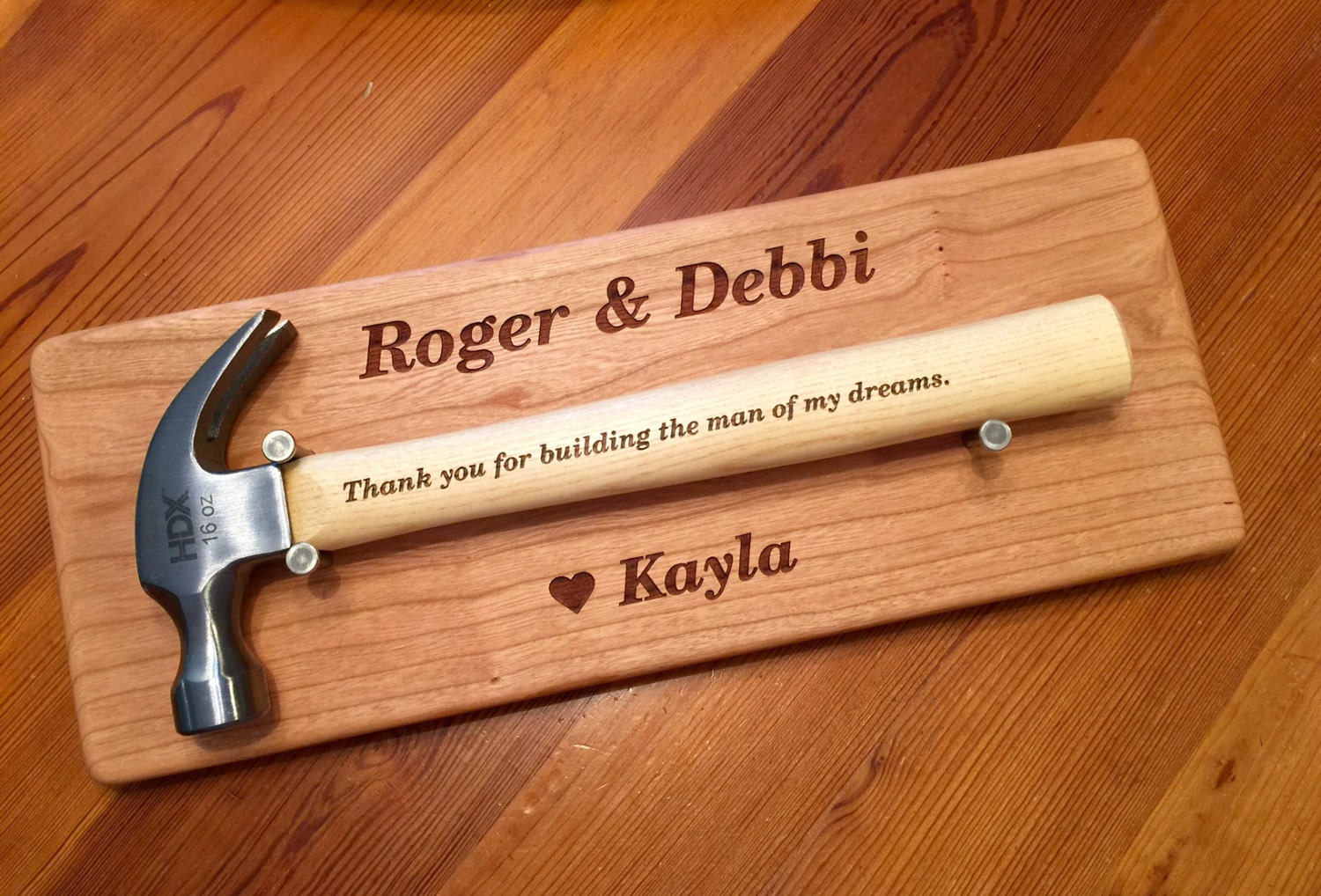 Parents Wedding Gift HAMMER DISPLAY Wall Plaque And 16 ounce