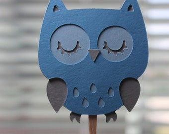 Cute Blue and Grey Owl Cupcake Toppers