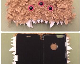 Heebie Jeebie Curly Tan Furry Phone Flip Case