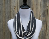 Margaret Infinity Scarf / Gray and White / Jersey Knit / Scalloped Ruffle Stripe / Spring Layers