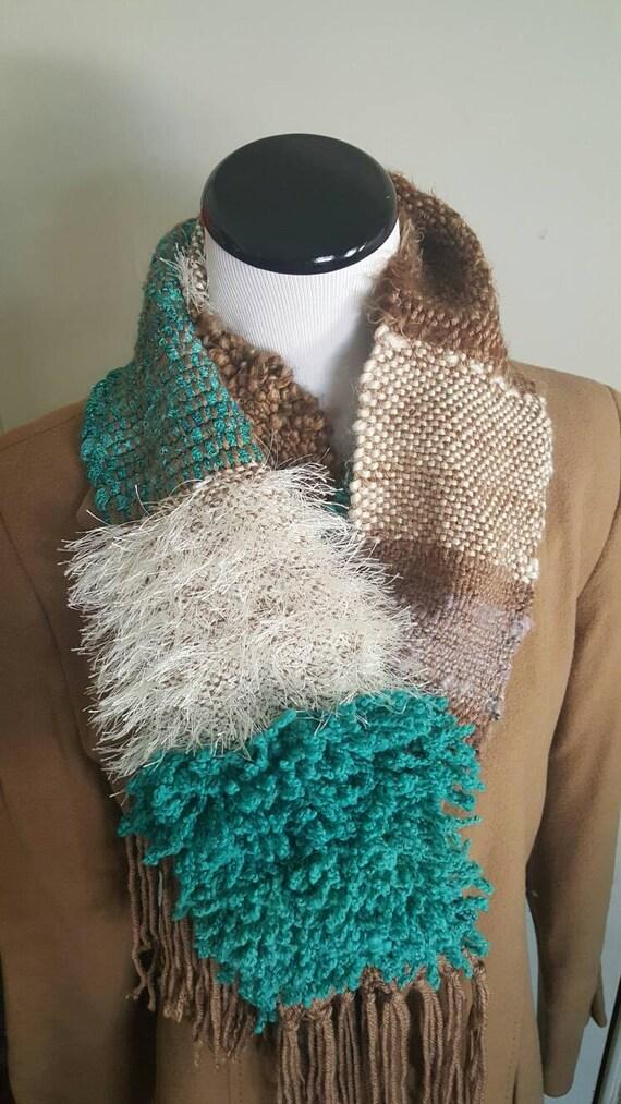 Hand woven Saori inspired winter scarf.