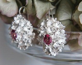 Wedding earrings, flower earrings, sterling silver earrings, pink topaz earrings, bridal jewelry, floral jewelry, heirloom jewelry, romantic