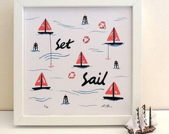 Set Sail illustrated summer print