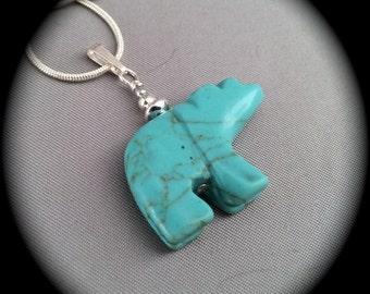 Bear Fetish Necklace - Turquoise Magnesite