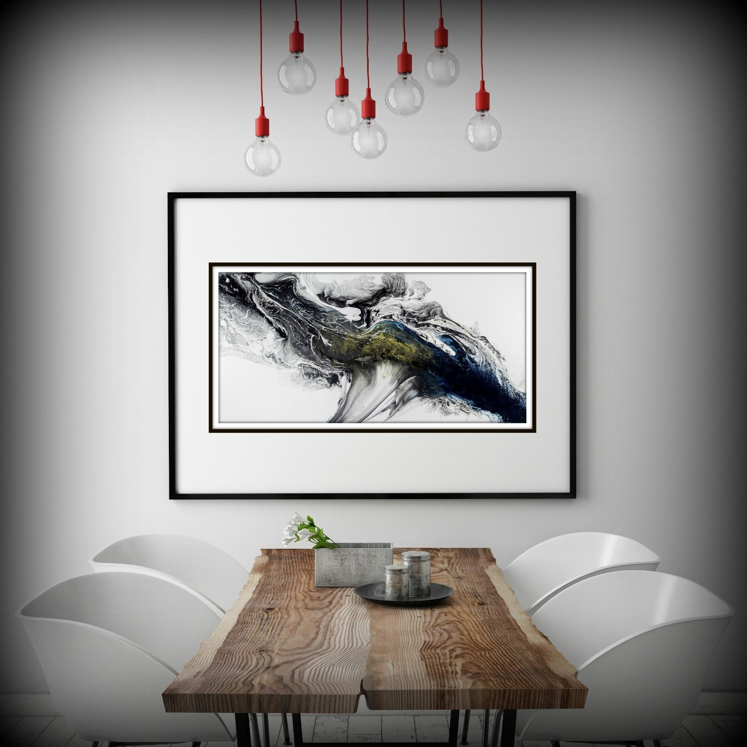 Black and white wall art gift abstract painting print for Modern home decor gifts